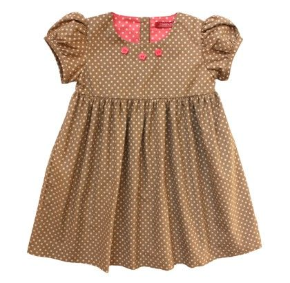 Campana Girls Printed Corduroy Dress - Polka Print
