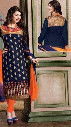 Blue & Orange-semi Stitched Suit - Fashion Fiesta