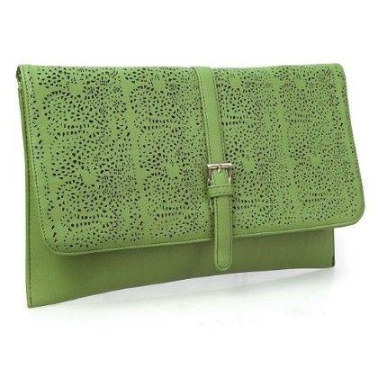 Decorative Cut Out Design Faux Leather Fashion Statement Envelope Clutch Forest Green - B.m.c