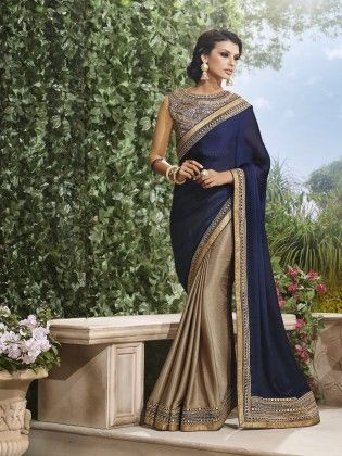 Touch Trends Navy Blue Satin Chiffon Saree - Touch Trends Ethnic