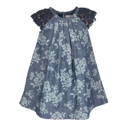 Denim Floral Print Lace Sleeve Dress - My Lil'Berry