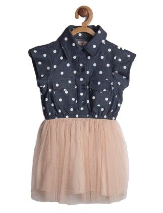 Navy Blue Polka Dotted With Pink Bottom Sleeveless Flared Dress - My Lil'Berry