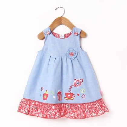 Pinaform Dress With Applique Embroidery - Chocopie