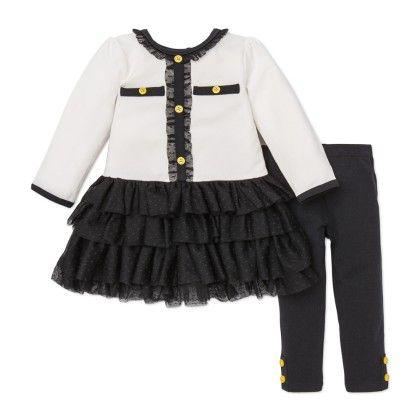 Black & White Dress And Legging Set - Little Me