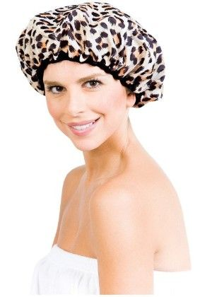 "Betty Dain Stylish Design Terry Lined Shower Cap, The Socialite Collection, ""safari Spots"""