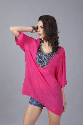 Loose Fit Embroidery Tops-fuchsia - Xcel Couture