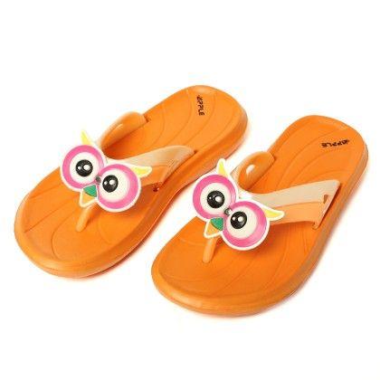 Owl Bird Slip Ons-orange - Red Apple