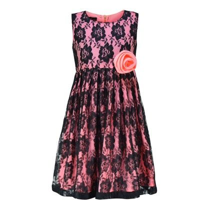 Floroscent Orange And Black Lace Dress With With A Bow - Peaches