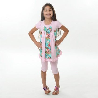 Dress With Knit Shorts-coral - Canadian Kidswear