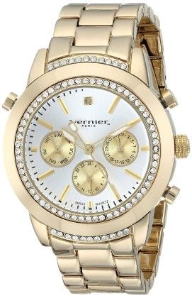 Vernier Paris Multi-function Genuine Diamond Swiss Quartz Gold-tone Bracelet Watch - Vernier Watches