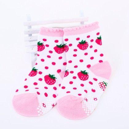 Cherry Polka Dots Print Socks- White/ Pink - Tootsies