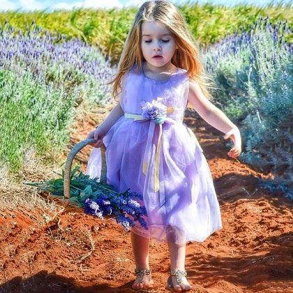 Purple Floral Waist Belt Dress - Little Dress Up