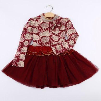 Red High Neck Floral Dress - LittleLuscious