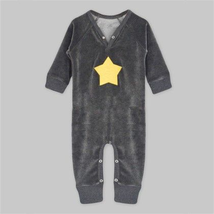 Charcoal Heather Velour Long Sleeve Jumpsuit With Golden Star Applique - A.T.U.N