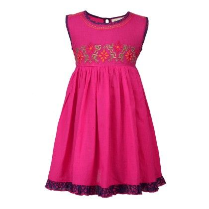 Budding Bees Girls Pink Printed Embroidered Gathered Dress