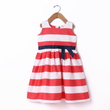 Dress Sleeve Less Big Stripe With Gross Grain - Coral - Doodle