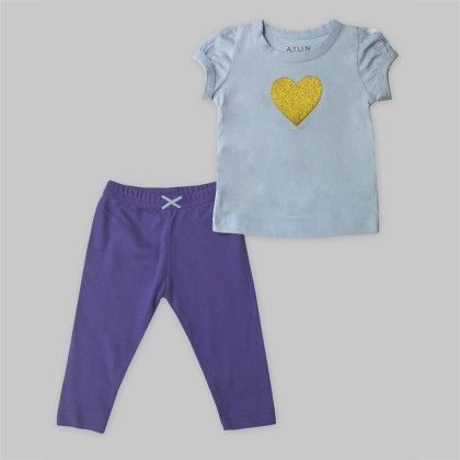2-piece Ice Blue Top With Heart Applique & Purple Cropped Leggings Set - A.T.U.N