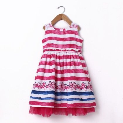 Dress Sleeve Less Stripe Border Print - Pink - Doodle