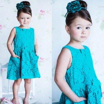 Blue Floral Work Pocket Dress - Little Dress Up
