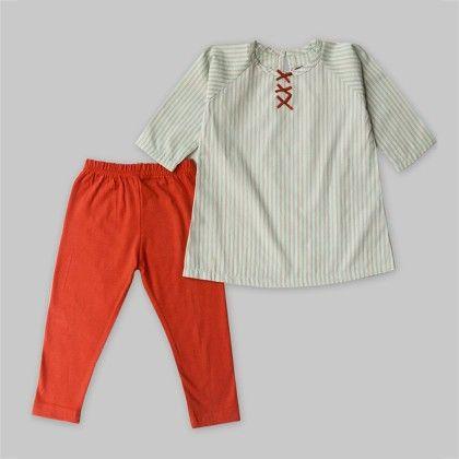 2-piece Mint Green Striped Tunic & Orange Leggings Set - A.T.U.N