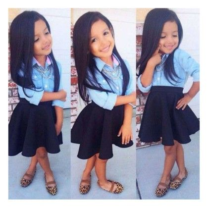 Blue Shirt And Black Skirt- Set - Little Fashionista