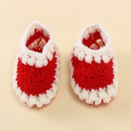 Red And White Puff Booties - Knitting Nani