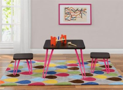 Betty Retro Style Kids Table And Stools Set, Espresso/pink - Altra Furniture