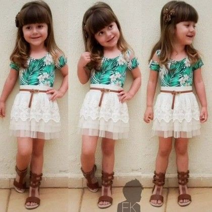 Green Floral Print Top And White Skirt- Set - Little Fashionista