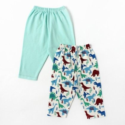 Solid Celadon & Dino Printed Boy Pants - Pack Of 2 - BEN BENNY