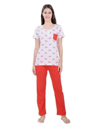 Cherry Print Top With Solid Orange Full Pyjama Set - Orange - Sheer Love