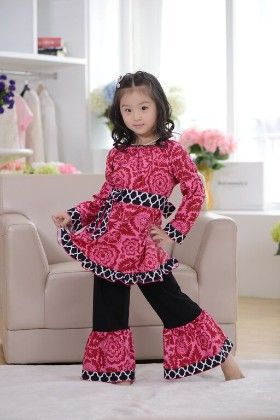 Abstract Print Tunic And Pant Set- Pink - Cutie Baby Boutique