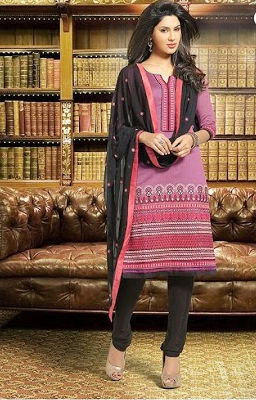 Pink Moment-embroidered Semi Stitched Suit - Fashion Fiesta