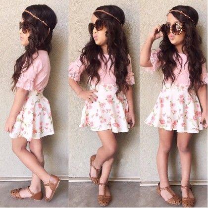 Pink Top And Floral Print Skirt - Set - Little Fashionista