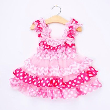 Pink Polka Dots Ruffled Dress - Little Dress Up
