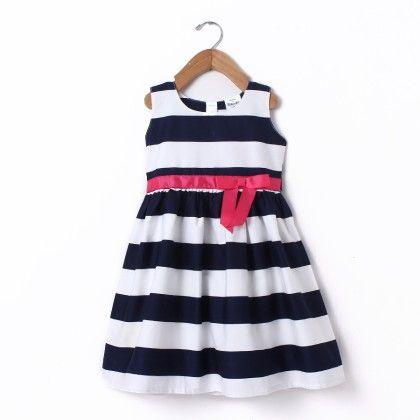 Dress Sleeve Less Big Stripe With Gross Grain - Navy - Doodle