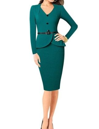 Vintage Long Sleeve V-neck Office Business Party Bodycon Dress-green - Senfloco