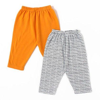 Solid Orange & Mom Dad Printed Boy Pants - Pack Of 2 - BEN BENNY