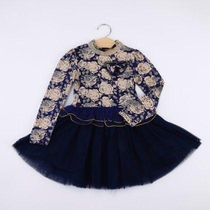 Blue High Neck Floral Dress - LittleLuscious