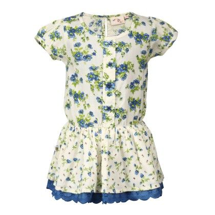 Budding Bees Off White & Blue Floral Gathered Dress