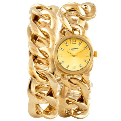 Vernier Paris Women's Gold-tone  Chain Link Double Wrap Watch - Vernier Watches