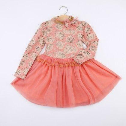 Pink High Neck Floral Dress - LittleLuscious