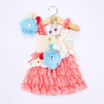 Pink Ruffled Dress With Headband And Waist Belt - Little Dress Up