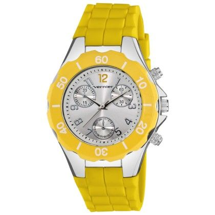 Women's Sport Chrono-look Silver And Yellow Silicone Strap Watch - Vernier Watches