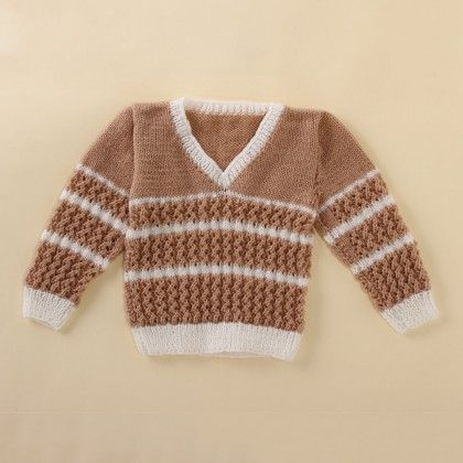 Light Brown And White V-neck Sweater - Knitting Nani