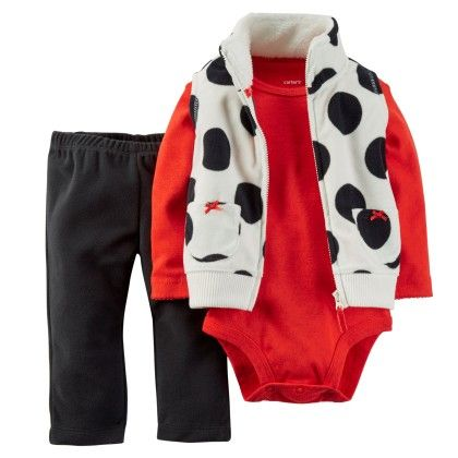 3-piece Vest Set - Red And Black - Carter's