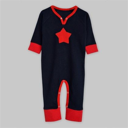 Navy Jersey Long Sleeve Jumpsuit With Red Star Applique - A.T.U.N
