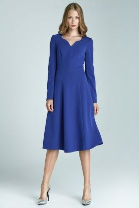 A Classic Dress With Long Sleeves S66 - Blue - Nife