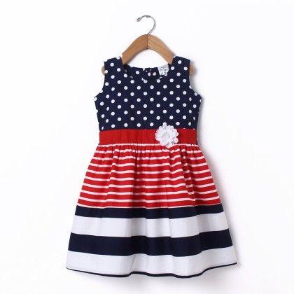 Dress Sleeve Less Polka & Stripe Cutnsew Navy & Red - Doodle