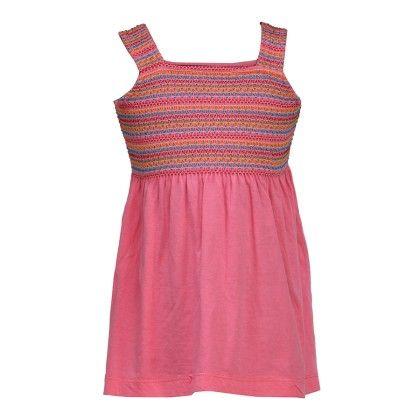 Budding Bees Girls Pink Embroidered A-line Jersey Dress