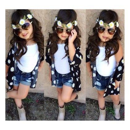 White Floral Jacket Style Top And Denim Shorts - Little Fashionista